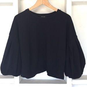 ASOS New Look Crop Black Sweatshirt Puff Sleeve